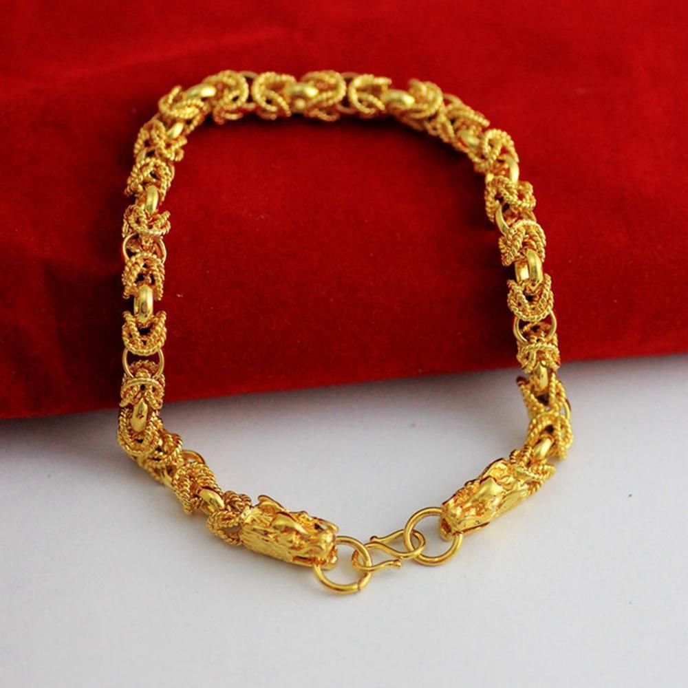 """Drago modellato filigrana Bracciale oro giallo 18k riempito braccialetto delle donne Moda Uomo 9"""" Lunga"""