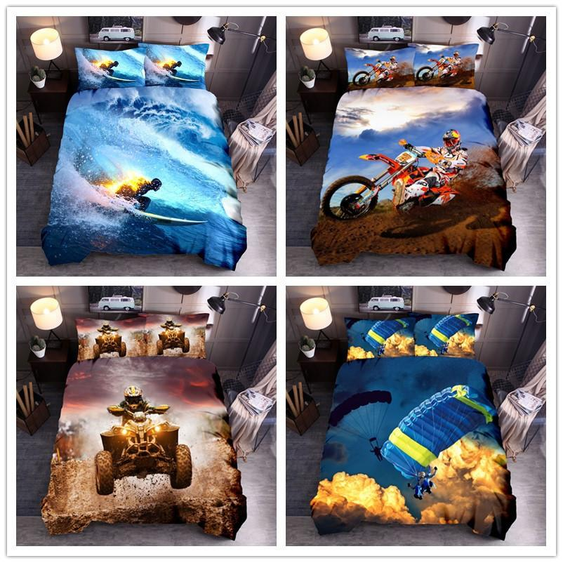 Extreme Sports Bedding Sets King Queen Full Twin Luxury 3D Surfing Cross Country Quilt Cover Pillow Case Duvet Cover Bed 3 Pcs Suit