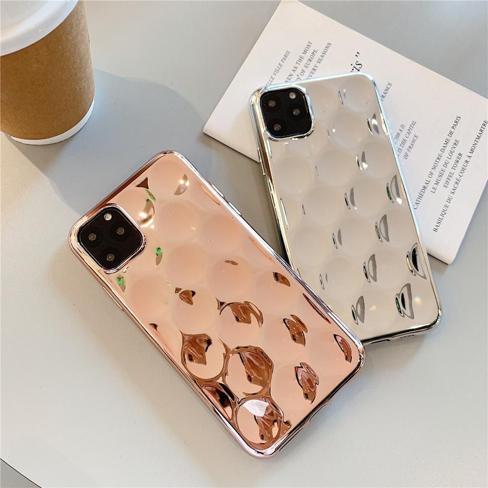 Glossy 3D Pit Plating Silver Gold Shockproof Phone Case for iphone XS 11 Pro Max XR X 6 6S 7 8 Plus Soft Silicone Cover