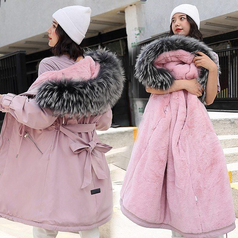 Fashion Long Lamb Hair Liner Parker Cotton Jacket Coat New Warm Women's Winter Jackets Belt Big Faux Fur Coats Parkas 210203