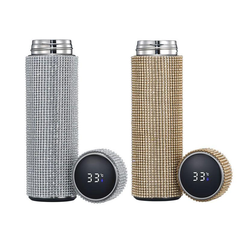 2021 Novo New Diamante Smart Thermos Touch Touch Explicação de Aço Inoxidável Frasco de Vácuo Garrafa de Água Café Cup Thermos Caneca 20116