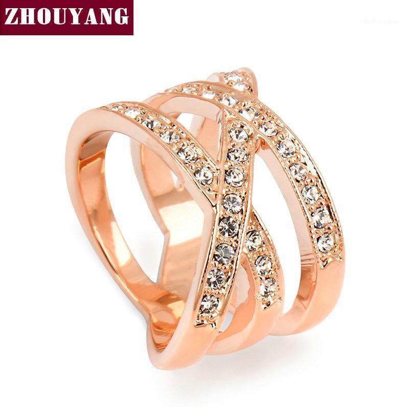 ZHOUYANG En Kaliteli ZYR244 Moda Tasarım Gül Altın Renk Yüzük Avusturyalı Kristaller Tam Boyutları1