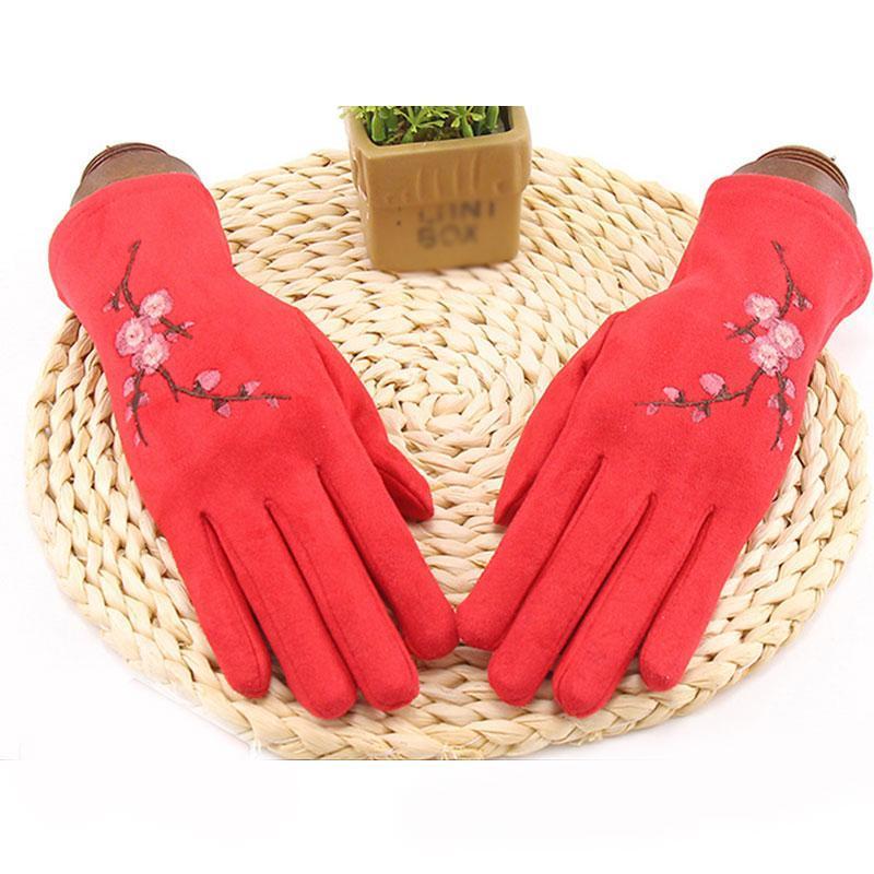 1 paire de prunier broderie moufles Suede Gants en cuir pleine doigt chaud Cachemire plus velours écran tactile de gants de conduite