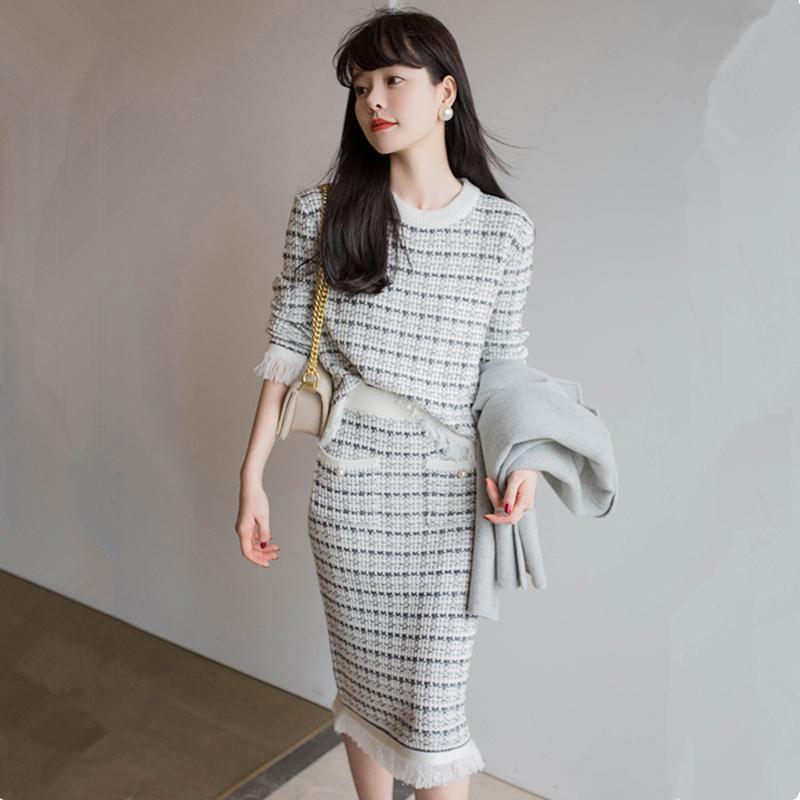 Yeni Overszie Kadınlar Kazak 2 Parça Setleri Elegnat Örme Takım Elbise Kadın Örgü Kazak Vintage Bayan Etekler Yüksek Bel Sonbahar