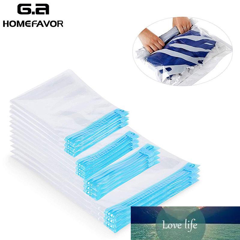 12 mão roll-up vácuo comprimido sacos de roupa transparente Sacos de economia de espaço de viagem Sacos de armazenamento de compressão selados