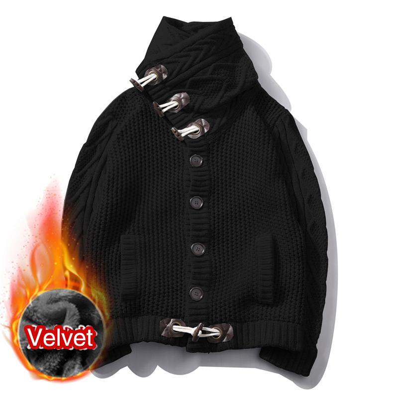 Cappotto del maglione del maglione ad alta ispessimento del velluto di inverno Cappotto del maglione del cappotto del maglione del maglione solido solido pullover del bottone maschio