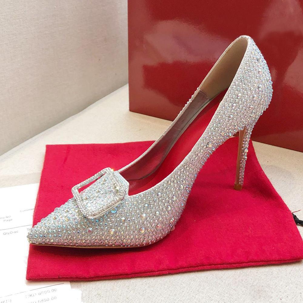 Nova Moda Top Vermelho Bottom Womens Stiletto Salto Salto 10 cm Decorar com Swarovski Cristais Diamante Festa Sexy Bridal Sapatos De Casamento