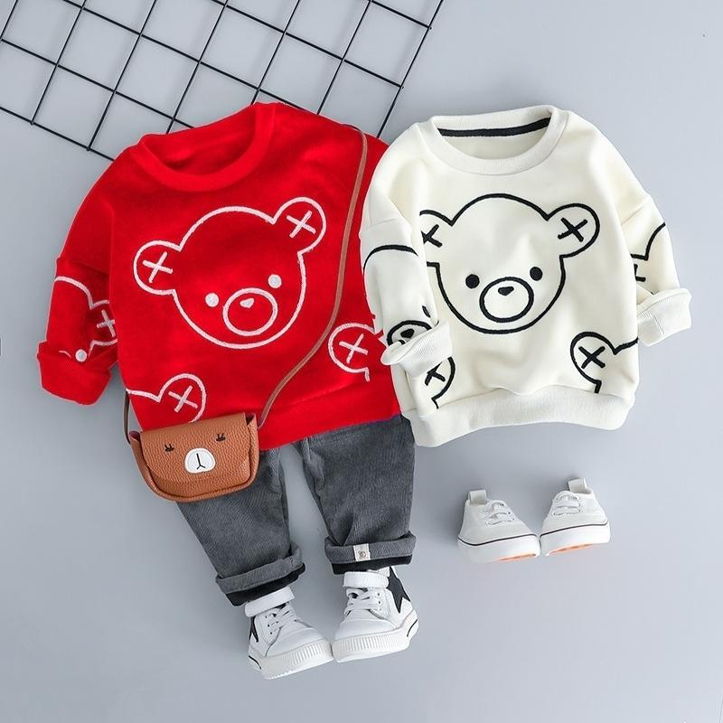Moda Outono Baby Kid Terno para uma calça de casaco de menino 2 pcs crianças faixas de ano novo criança criança criança menino roupa conjunto Outfit Y200803