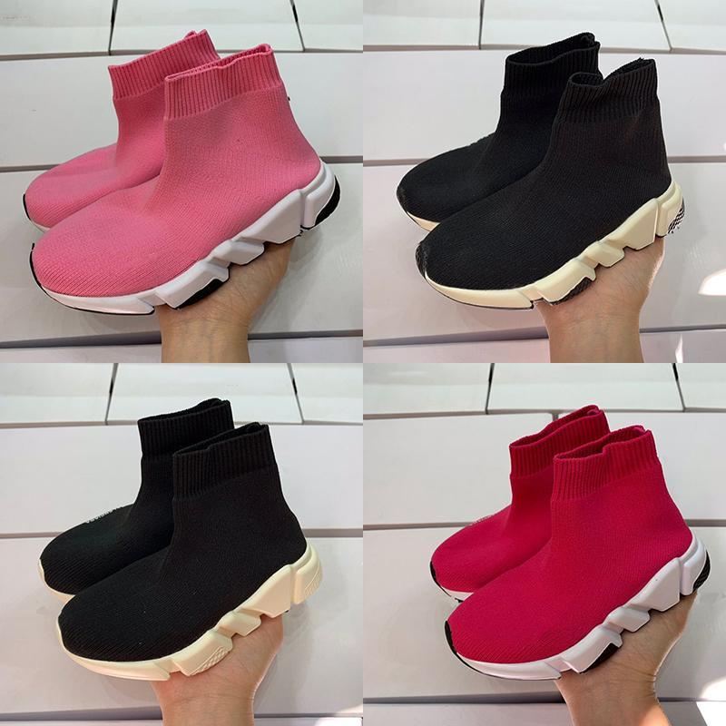 I migliori calzini da allenatore Scarpe Scarpe Boy Girl Designer Casual Black Red Oreo Youth Speed Trainer Casual Boots Boots taglia 24-35