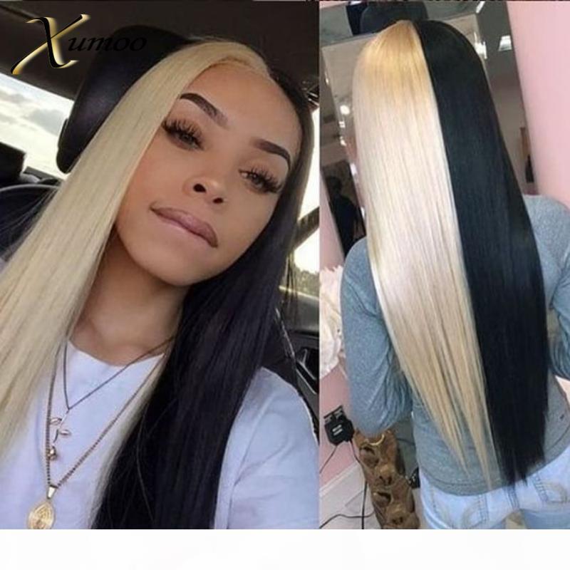 Xumoo pre-strappato capelli remy dritto mezza bionda metà nero parrucca nera capelli umani 360 pizzo parrucca frontale 360 parrucche di pizzo per le donne nere