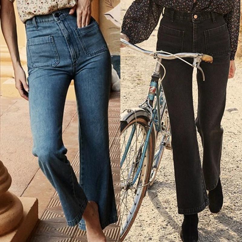 Las mujeres de la alta cintura de los pantalones vaqueros azules Color Negro Otoño Invierno estiramiento micro de la llamarada pantalones anchos de la pierna del dril de algodón de la nueva manera