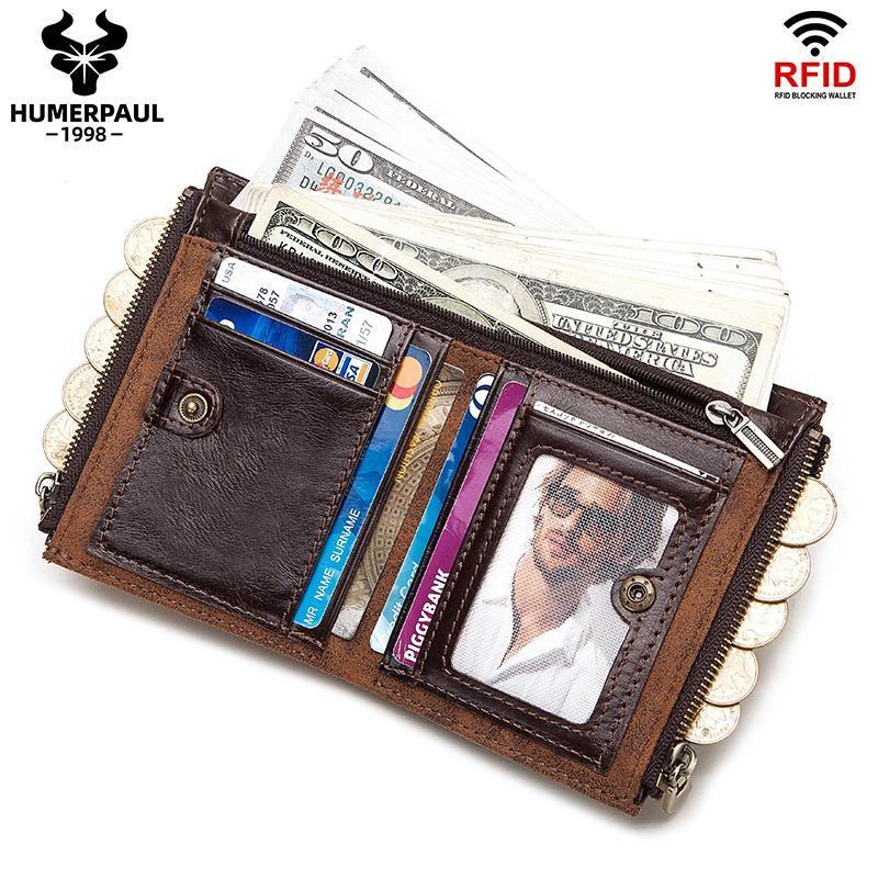 Подлинная кожаная кожа кожаный кошелек короткие монеты кошелек RFID маленькие винтажные кошельки бренда мужские высококачественные дизайнерские карты держатели