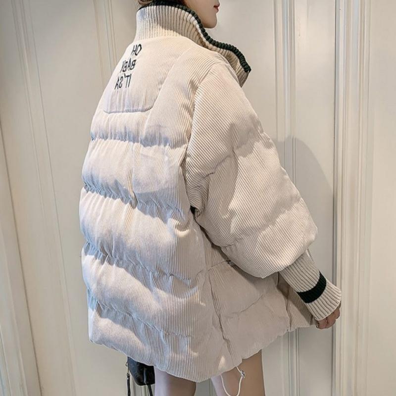 Chaqueta de mujer de invierno Corduroy acolchado Abrigo Lady Parka suelta estudiante de ropa de pan grueso 201110