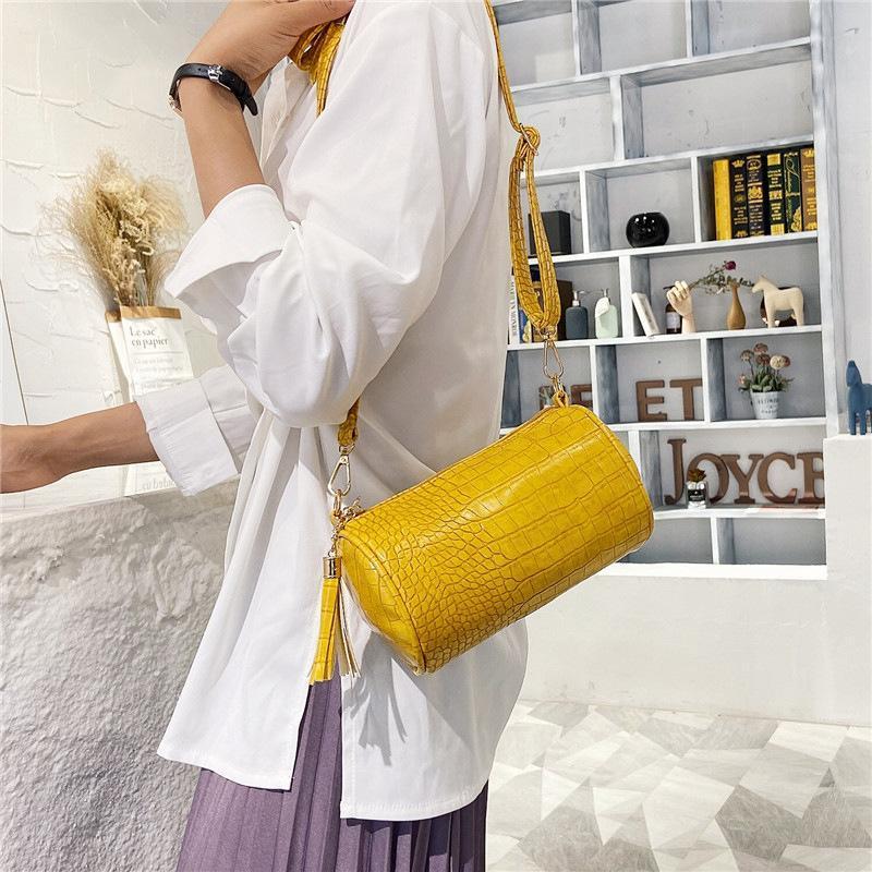 Modèle de crocodile de luxe Sacs à main pour femmes Soft Bandoulière Sac à bandoulière en cuir Sacs de téléphone portable Sacs à bandoulière cylindrique