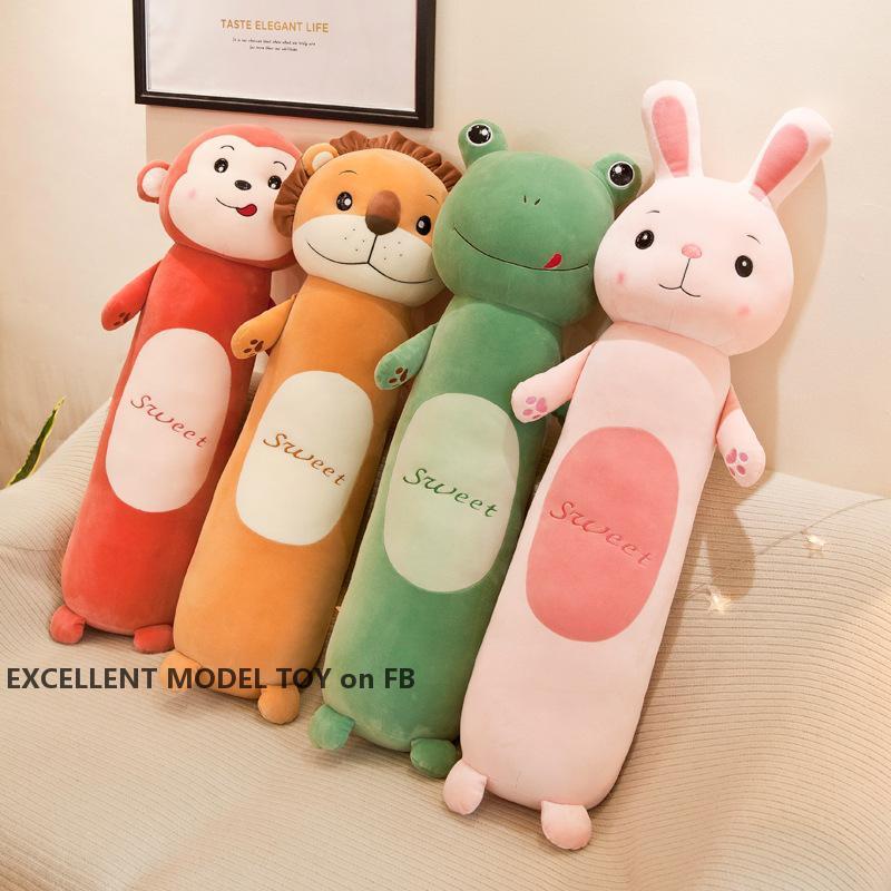 Netter 55cm Super Soft Lion Puppe-Plüsch-Spielzeug, Plüschtiere Kaninchen, Frosch Affe, Zylindrische Bolster Kissen, für Weihnachten Kid Geburtstag, Mädchen-Geschenk