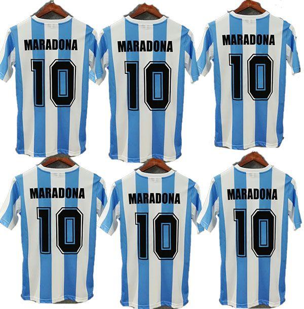 Em stock! Argentina Retro Jersey Jersey Maradona 86 Vintage Classic 78 Retro Argentina Maradona Camisas de futebol Maillot Camisetas de Futbol