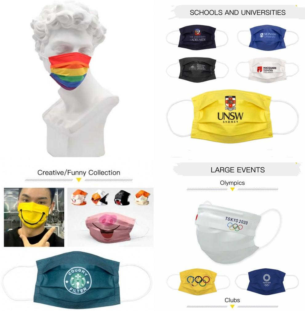 2021 Дизайнер Моющиеся Одноразовые Маски для лица Взрослые Мода Индивидуальные Дышащие Мультфильм Флаги Токио Анти пыль Маски для лица Индивидуальный пакет