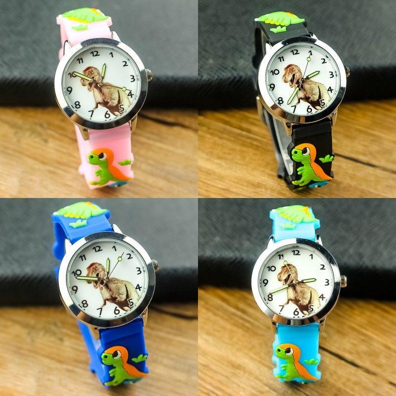 Montre-bracelet de dessin animé Dinosaure Dial Bande Silicone Watch bandeau imperméable Belle enfants Multi couleur Quartz Montres 8JY K2