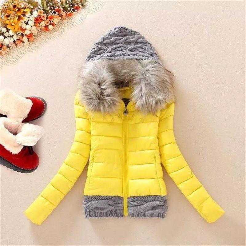 Women's Parkas Winter Warm Coat Short Jacket Slim Fur Collar Knitting Hat Casual Coat Oversize Female Outerwear Clothing 201211