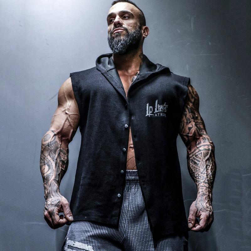 Erkekler Kas Kolsuz Hoodie Vücut Geliştirme Egzersiz Spor Salonu Pamuk Fitness Kolsuz Gömlek