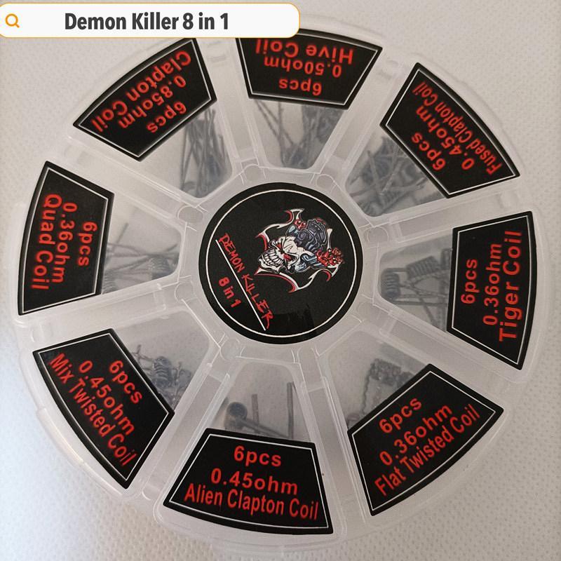 DHL Demon Killer 8 in 1 Set Heating Wires Alien Clapton Prebuilt Coils Resistance For Atomizer Tank RBA RDTA Premade Wraps