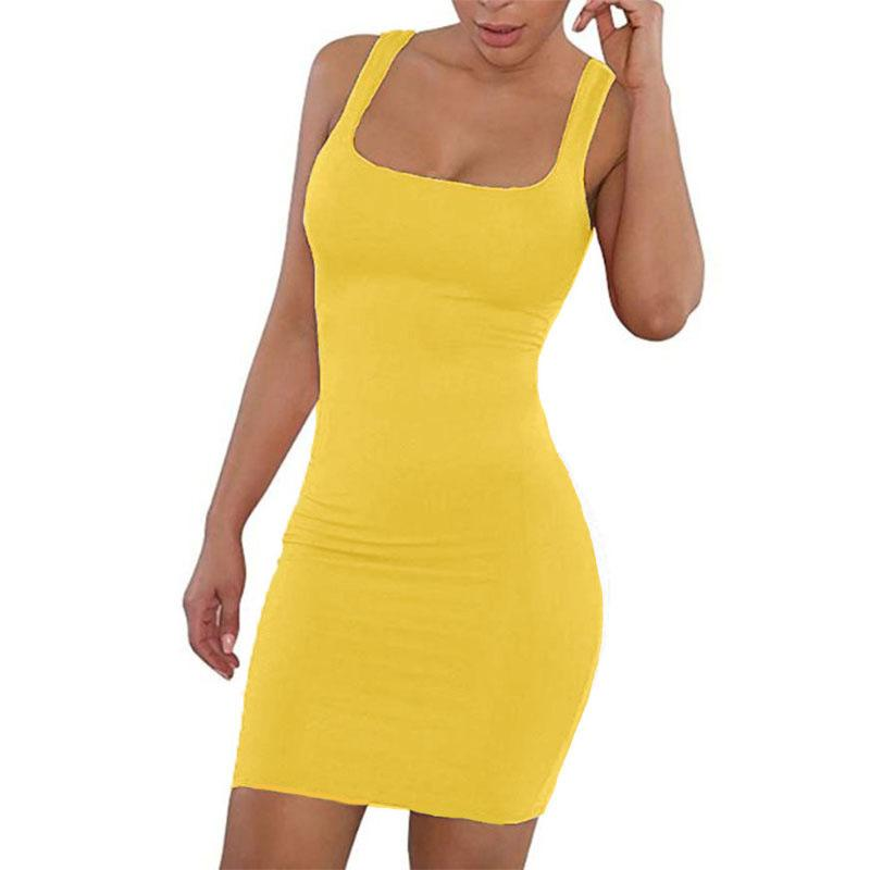 Vestido de verão sólido sexy pescoço quadrado casual estreito fora do ombro curto bodycon stretchy 2020 vestido mulheres