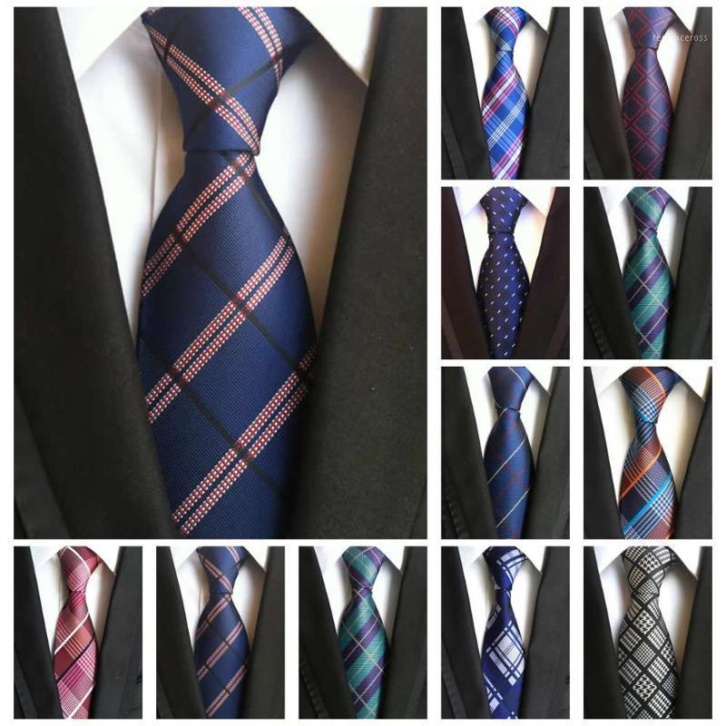 Fashion Men's Ties Classic Plaid Neckties 100% Silk 8CM Ties For Men Green Blue Black Jacquard Woven Business Wedding Neckties1
