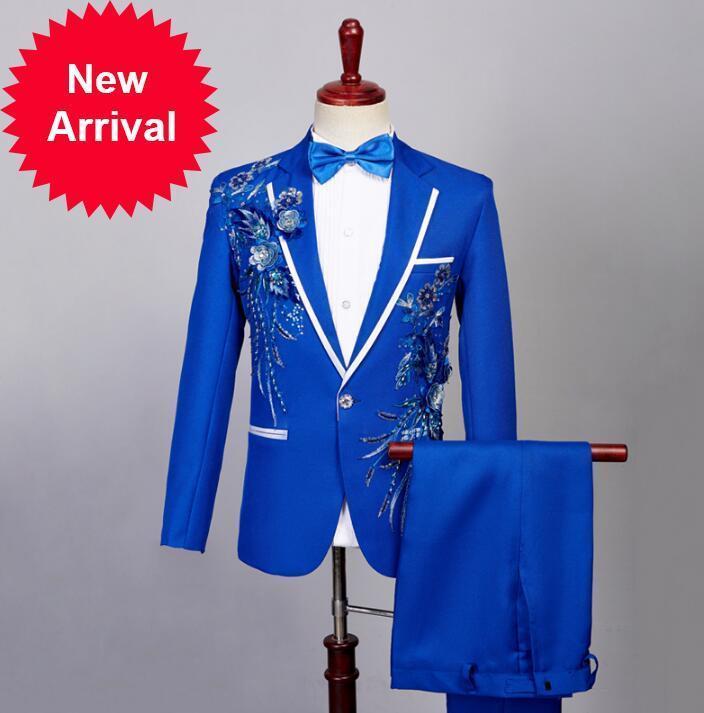 Cantante Stage Blazer Formal Vestido Último abrigo Pantalón DISEÑOS DE LESTINA Traje de lentejuelas Men Terno Masculino Pantalones de boda Trajes de boda Azul de los hombres