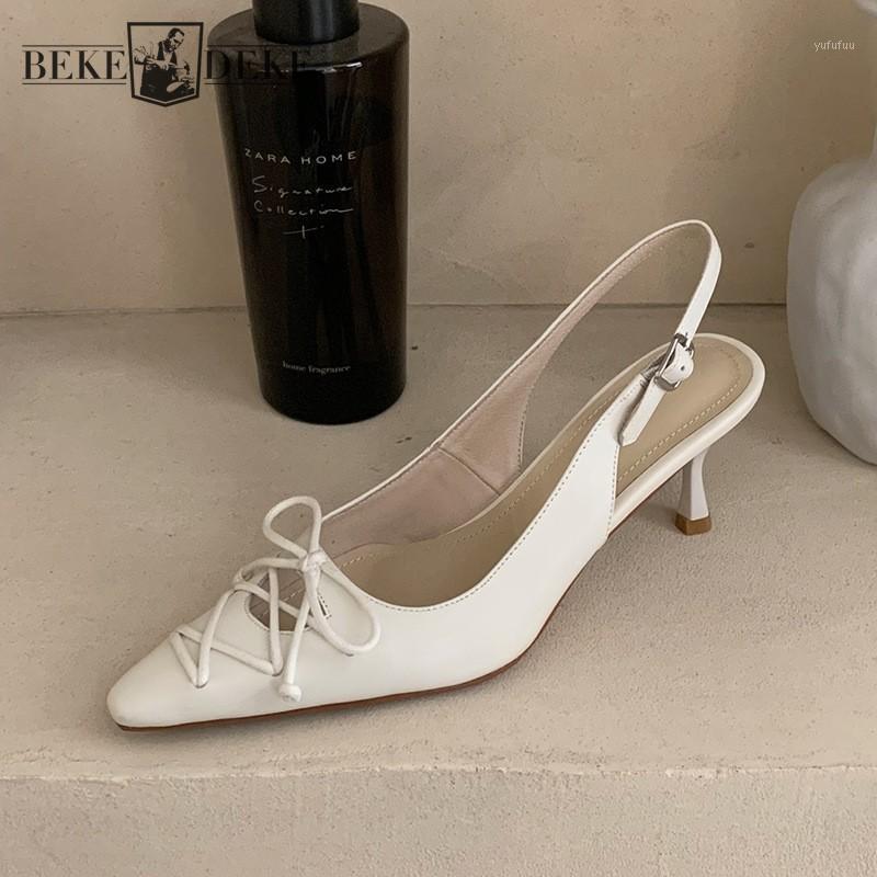 Офисные дамы элегантные заостренные носки высокие каблуки женщин скрещенные бантики, выдолбленные из натуральной кожи сандалии летние сандалии с шпильком1