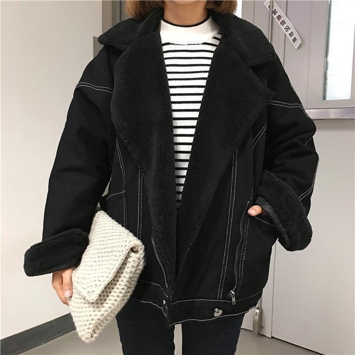 Осень зима женщин джинсовая куртка женский черный теплый флис короткое джинсовое пальто женщина падение мотоцикл джинсовая куртка пиджак берут ветровка