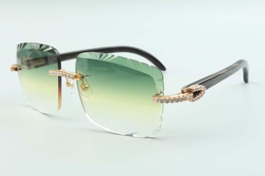 2021 عدسة القطع المتوسطة الماس النظارات الشمسية 3524020، سوداء الطبيعية البروسفال بوفالو قرون المعابد نظارات، الحجم: 58-18-140mm
