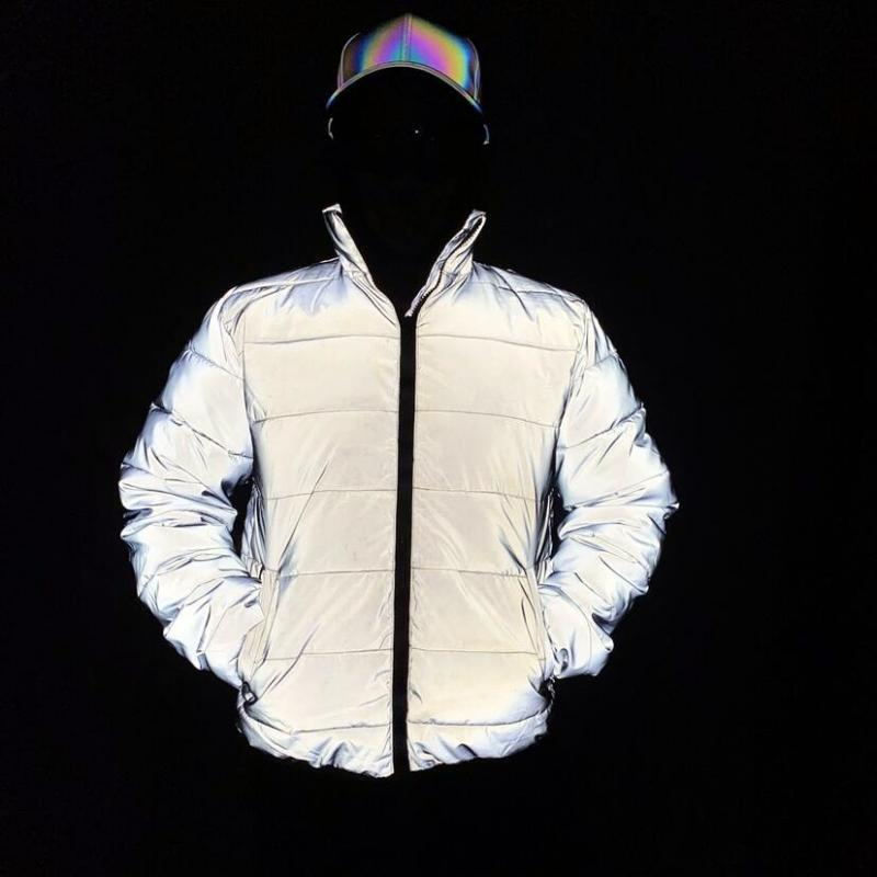 2020 Men winter reflective jacket warm cotton-padded coat women harajuku street hip hop jackets night reflect light parka