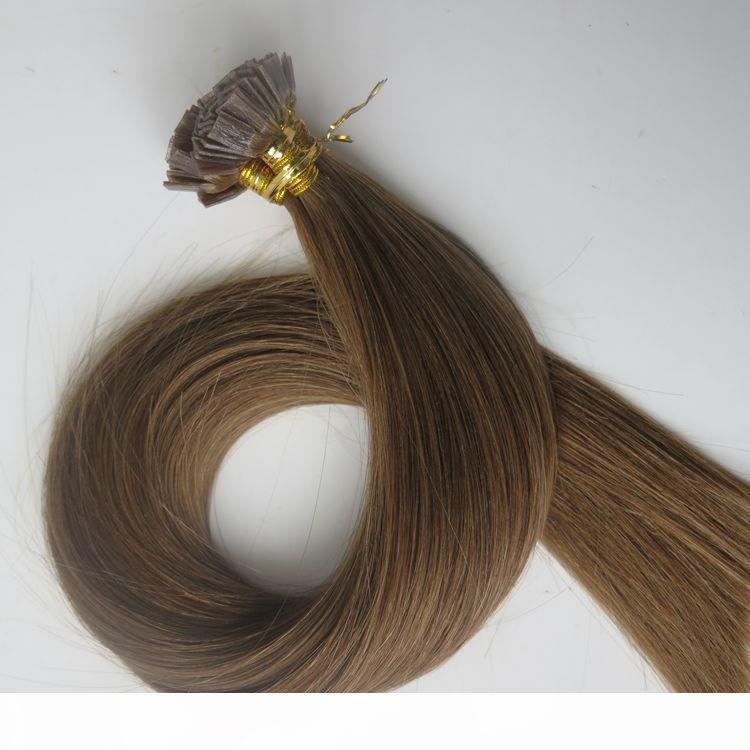 150g 1SET = 150Strands Öncesi bağlı Düz Tip Saç Uzantıları 18 20 22 24inch 6. Orta Kahverengi Brezilyalı Hint Remy Keratin İnsan Saç