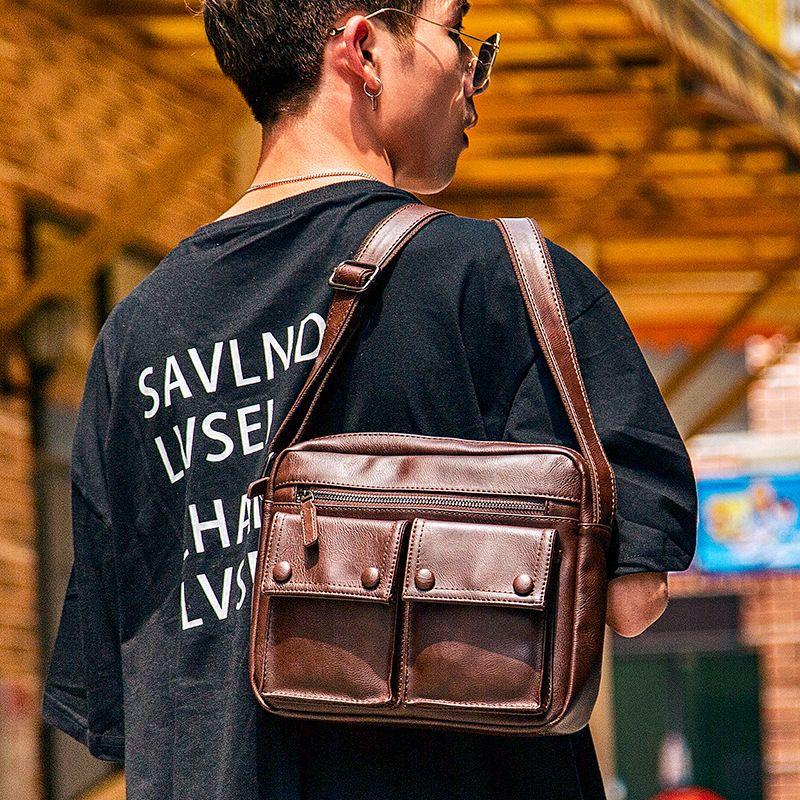 New business trend of men shoulder messenger Japanese bag leisure luxury career purse plutonium IN2F