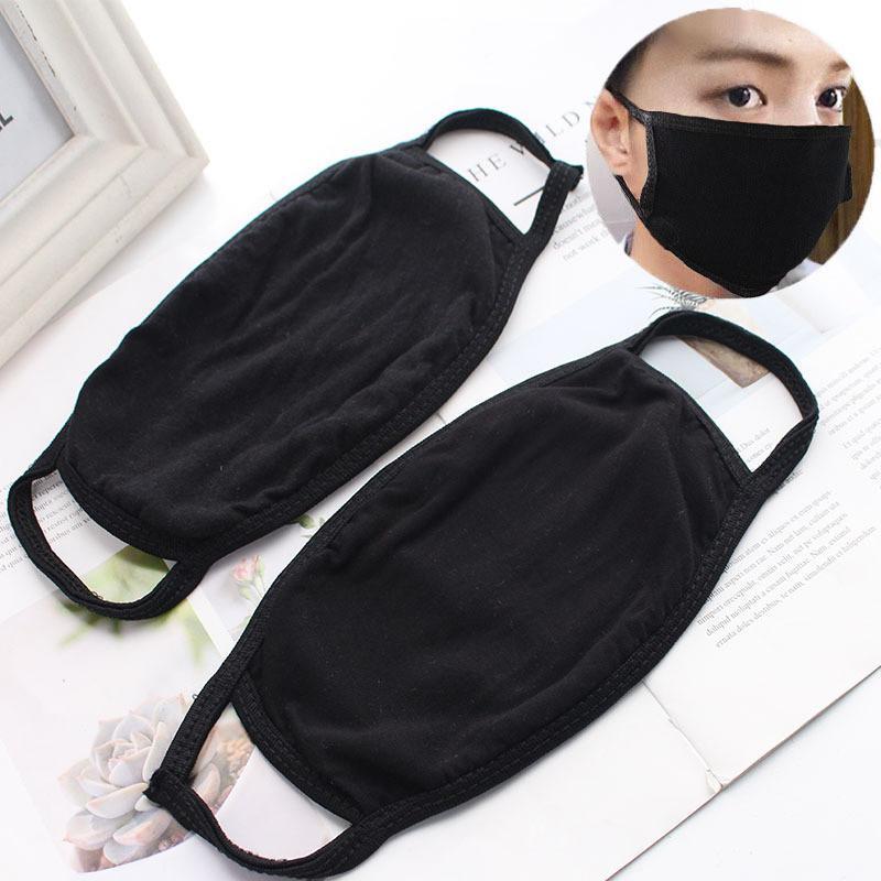 Взрослый Черный Хлопок Лицо Мода пылезащитный Анти Смоги Моющиеся Многоразовые Защитные Маски Велоспорт Маски