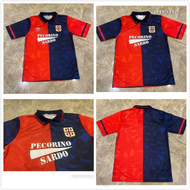 Cagliari calcio 1990 1992 Jerseys de football rétro Accueil Joao Pedro Simeone Nainggolan Godin 90 92 Chemises de football Vintage