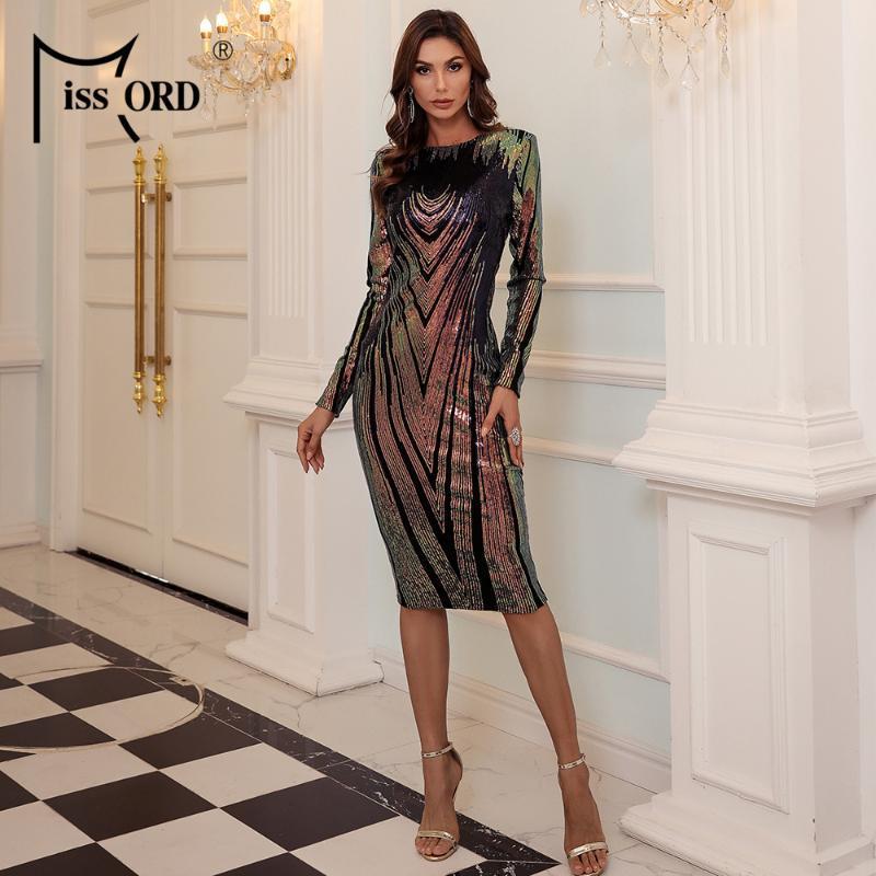 Missord 2021 Zarif Uzun Kollu Pullu Elbise Kadın Moda O Boyun Bodycon Midi Elbise Kadın Akşam Parti Vestidos M0769