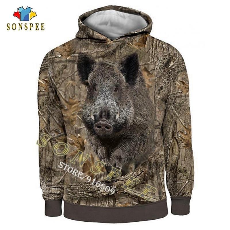 Sonspee Camo Uzun Kollu Kapşonlu Gömlek 3D Baskı Hoodie / Kazak / Fermuar Adam Kadınlar Orman Avcılık Yaban Domuzu Tops Q1205