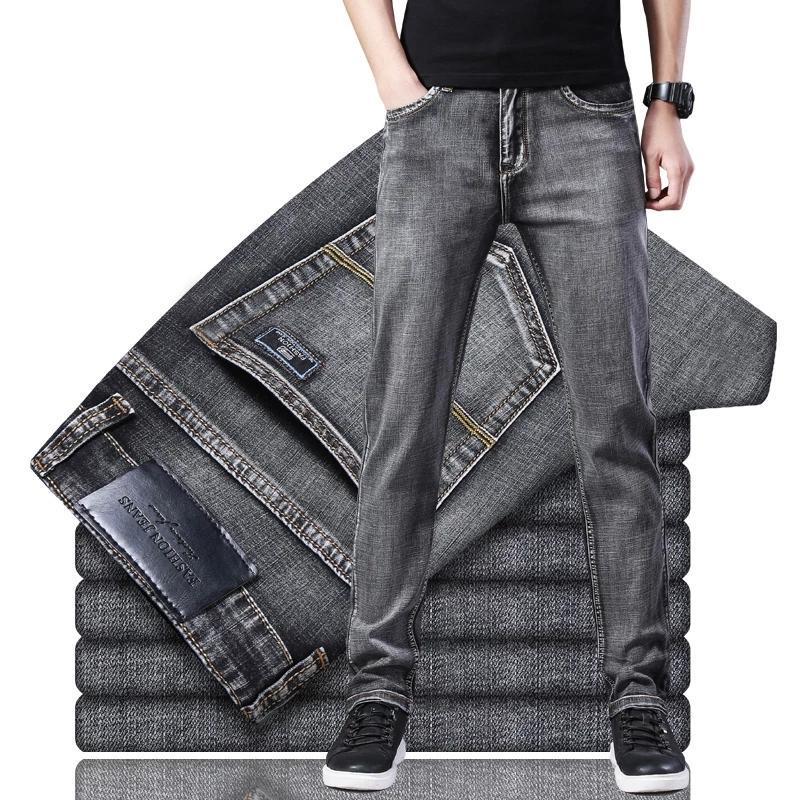 Marka erkek yeni streç düzenli fit kot iş rahat klasik tarzı moda çeşitli denim pantolon erkek siyah mavi gri pantolon