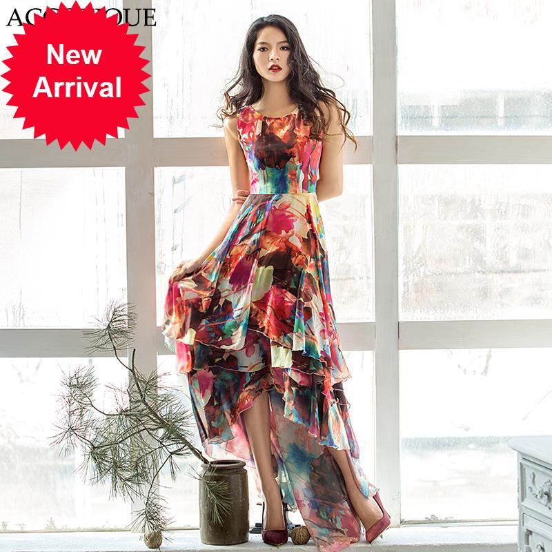 Frete Grátis Novo Verão Mulheres Sem Mangas Imprimir Maxi Vestido Feminino Irregular Ruffle Chão Comprimento Longo Vestidos Vestidos