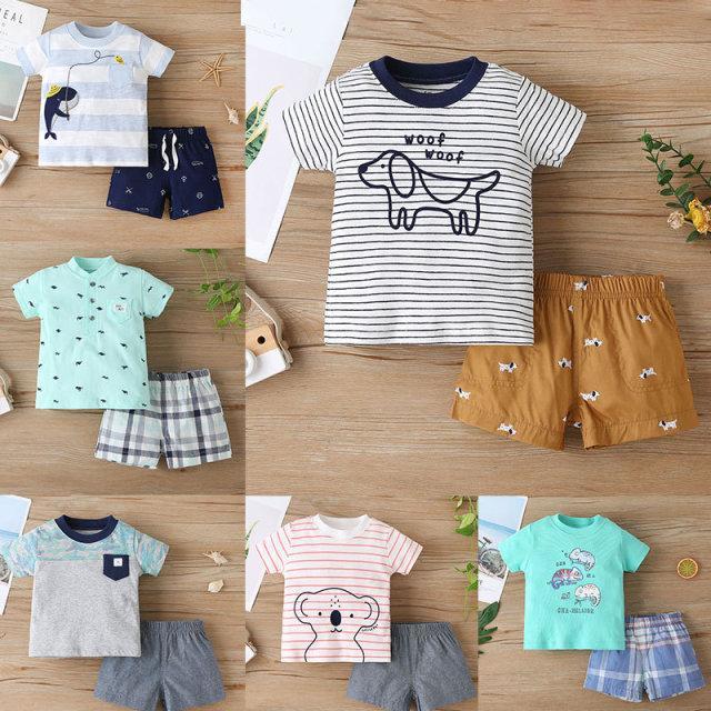 Baby Roupas Set Mangas Curtas Top + Calças Outfits Verão 2021 Crianças Roupas Boutique 9-36m Meninos Cotton Casual 2 Pc Terno