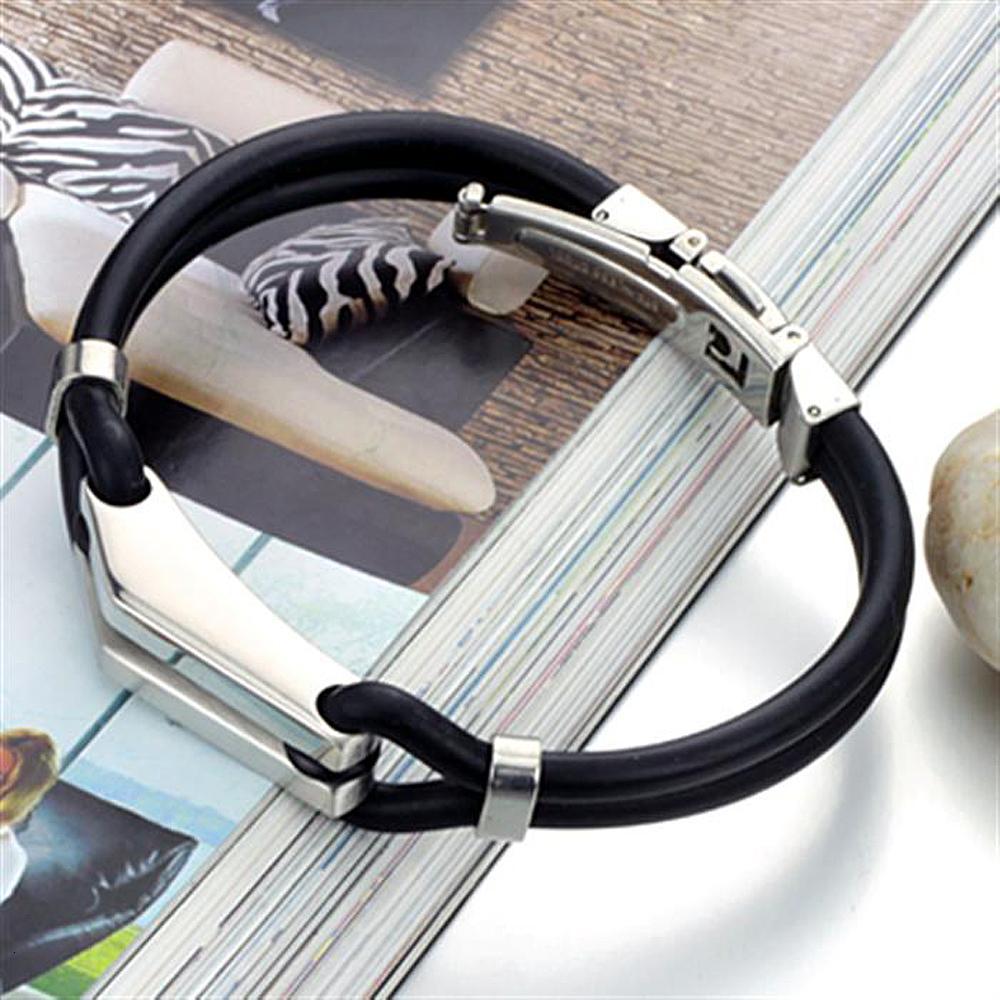 Stahl Armband Männer Sport Silikon Armband Edelstahl