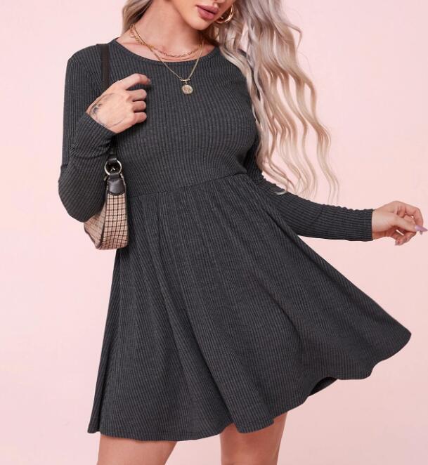 Nueva roscada con cuello redondo de manga larga de la cintura oscilación falda de una línea de vestimenta para las mujeres