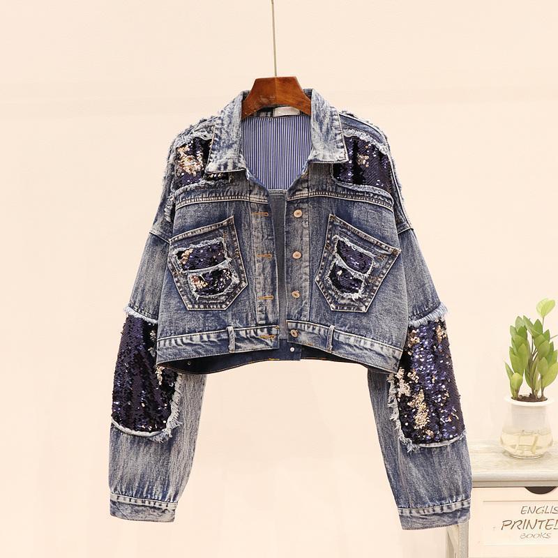 Sequins Sprised Джинсовая куртка Женщины осень Новая мода потертый прохладный короткие джинсы куртка пальто женское Harajuku стиль свободная верхняя одежда1
