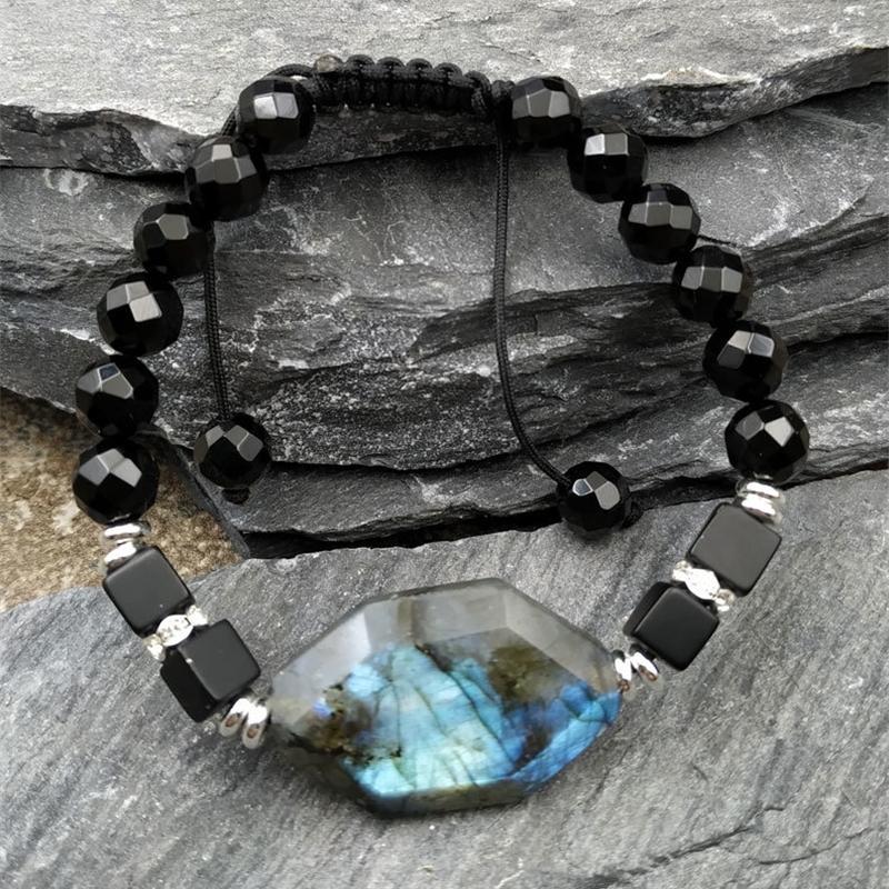 Natural Labradorite Stone Cube Stone Beads Bracelet Adjustable M0040 Y200730