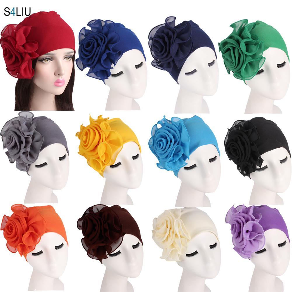 Nuove donne musulmane cappello da fiore anatchiey tourban elastico cofano chemio perdita di capelli tappo tappo del cancro del tappo del cancro africano africano bandanasx1023