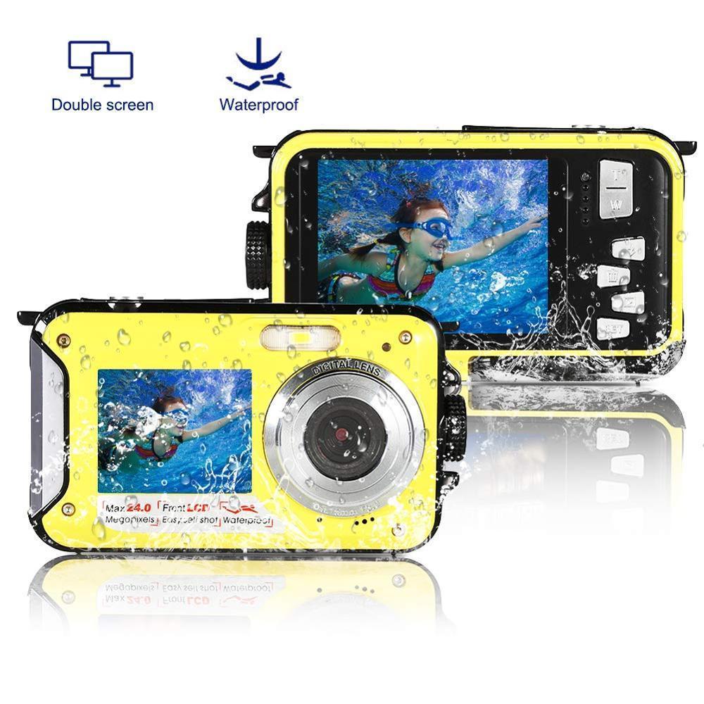 Profesyonel Çocuklar Dijital Kamera Sualtı 10ft Full HD Video Tüketici Kameraları Erkek Kız Su Geçirmez Kamera Çift Ekran Y1120