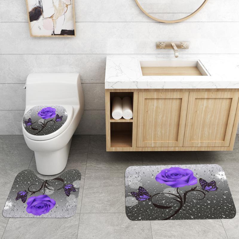 3 unids Piso cuadrado Duradero inodoro no tejido Conjunto en forma de U + Conjunto de cortinas de ducha para la decoración del baño del hogar