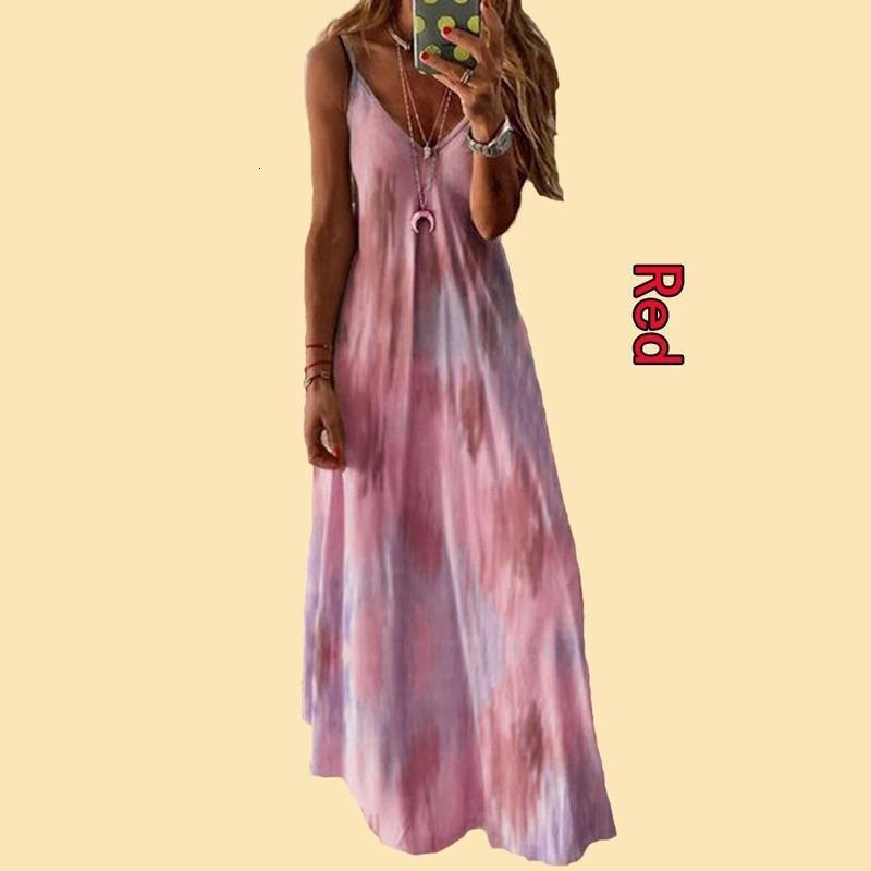 2021 Nouvelle jupe de plancher collé multicolore et robe de taille supérieure robe sans manches Polyester attaché une bandoulière femelle Summer z3eq