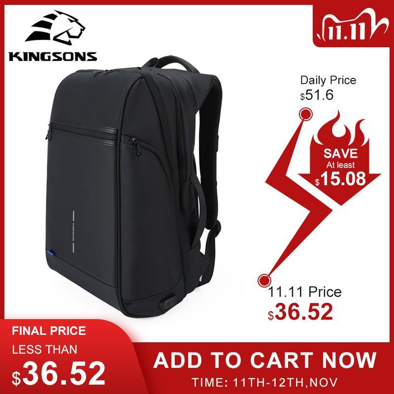 Kingsons uomo zaino vestito 15 17 pollici laptop USB ricarica di multistrato spazio viaggio borsa maschile anti-ladro moochila